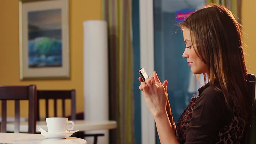 Brunette young adult woman typing short message mobile phone man | Shutterstock HD Video #6200006