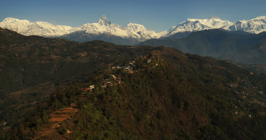 Aerial View: Flight over the mountains, Pokhara Valley, Annapurna conservation area, Nepal. April 2014. Pokhara Valley is the second-largest valley in the hilly region of Nepal | Shutterstock HD Video #6225536
