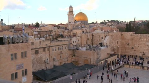 JERUSALEM, ISRAEL CIRCA 2013 - The Dome of the Rock towers over the Old City of Jerusalem and the Wailing Wall.