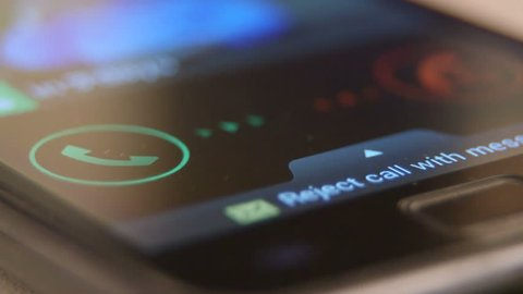 Incoming call request on smart phone display