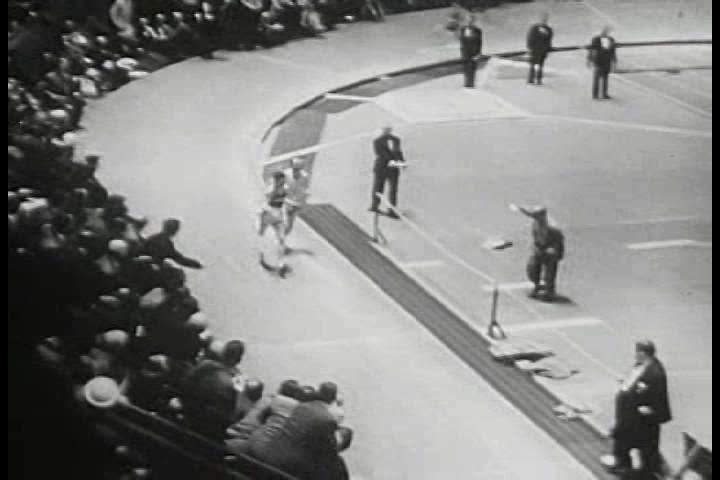 CIRCA 1950s - Don Gehrmann, Jim Fuchs, and Robert Richards all win or set records in their track category at the 1951 New York Athletic Club Games.