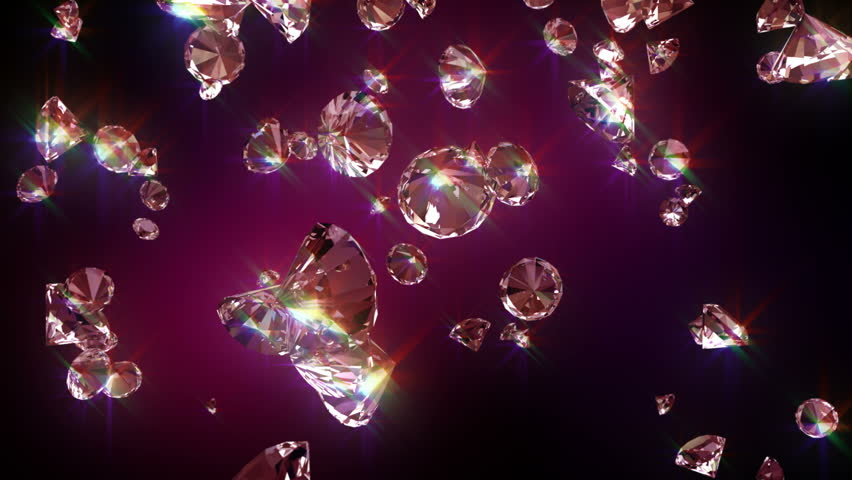 Falling diamonds. Falling diamonds 3D animation in FullHD.