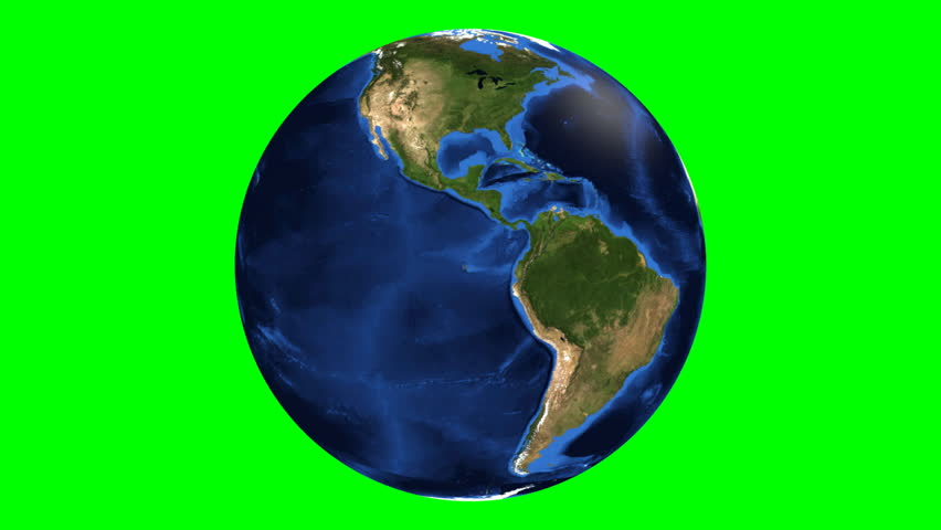 Realistic Earth Rotating on green screen.  Texture map courtesy of NASA.