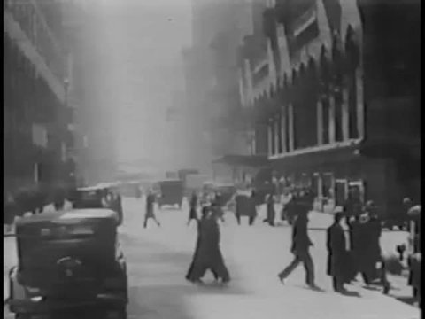 View of 1930s city life from car