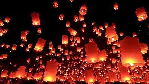 Thousand sky lantern in loy kra thong festival in Chiang Mai Thailand