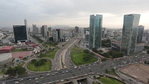 LIMA - PERU CIRCA 2014: Panoramic view of the high way and Javier Prado avenues circa 2014 in Lima.