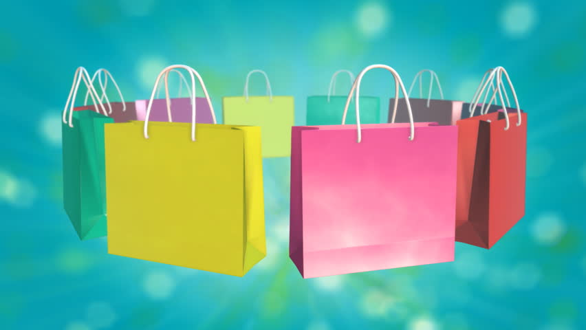 Colorful Shopping Bag On Twinkle Background Stock Footage Video ...