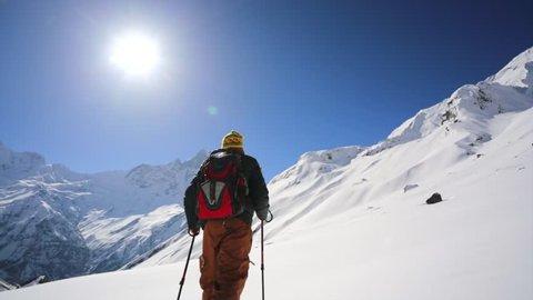 Hiking in Himalaya mountains. Annapurna mountains, Nepal.