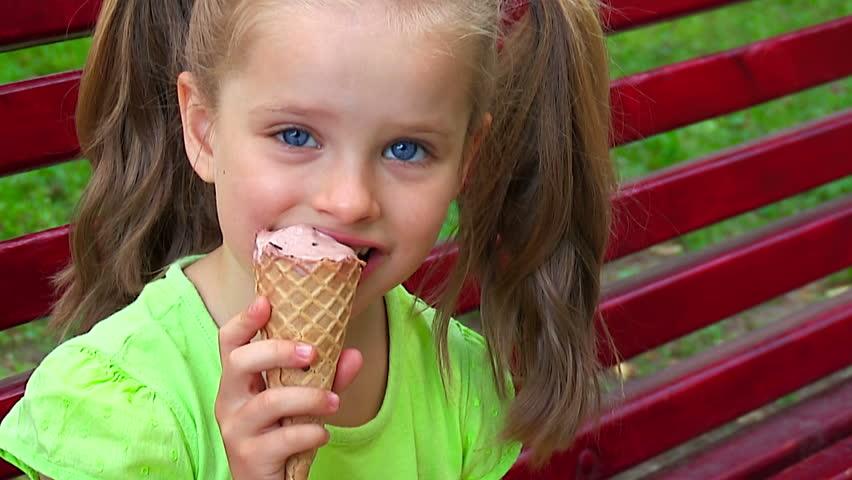 Delicious Ice Cream Cone Little Girl Stock Photo 145220725 ...