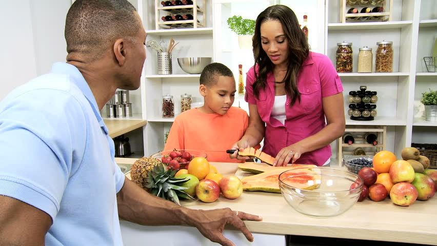 Healthy African American Family Kitchen Fresh Fruit   Loving African  American Parents Young Son Luxury Home Kitchen Counter With Juicy Organic  Fruit For ...