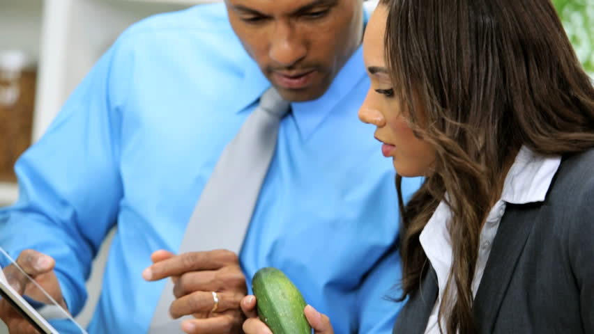 Head Shoulders African American Career Couple Home Kitchen Using Wireless Tablet Recipes For Healthy Living Meal