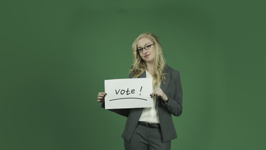 Caucasian businesswoman isolated on chroma green screen background election vote sign | Shutterstock HD Video #6362636