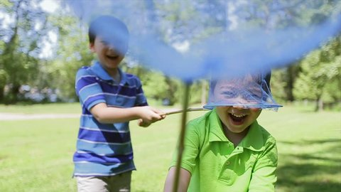 Little Boy Captures His Younger Brother With A Butterfly Net. Asian family playing outdoors.