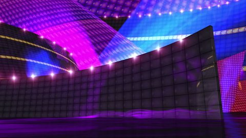 Dj disco stage virtual set animation with alpha for key your own footage for use of music video production ,editing, motion graphic clips,virtual background,MTV ,music channel, dancing theme ,etc .