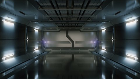 3D Computer generated ride in a spaceship tunnel.