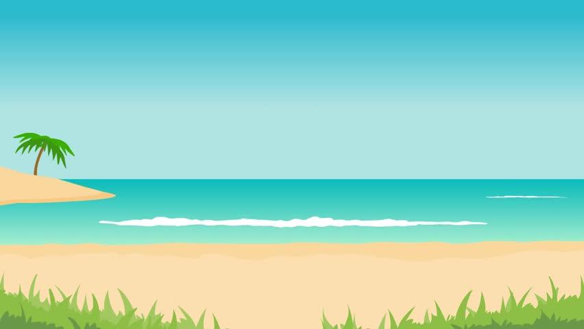 Animated Beach Scene Desktop Wallpaper: Animation Of Tropical Landscape