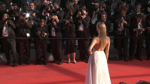 CANNES, FRANCE - MAY 2014: Natasha Poly on the red carpet for the closing ceremony at the 67th Cannes Film Festival.