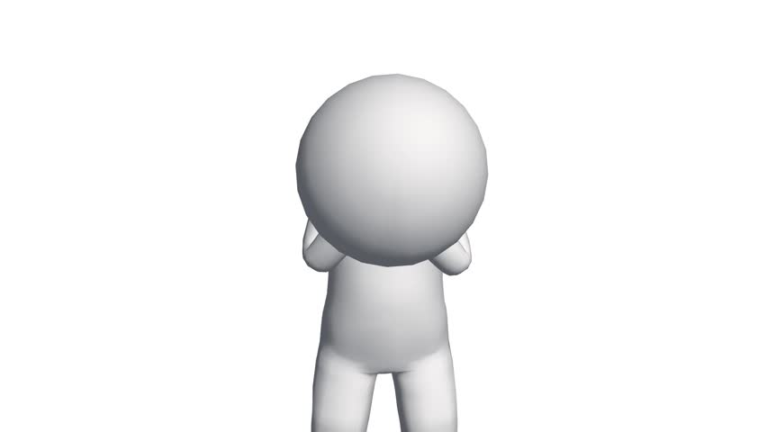 3d Cartoon Character Depressed Sad Comics Stock Footage Video 100