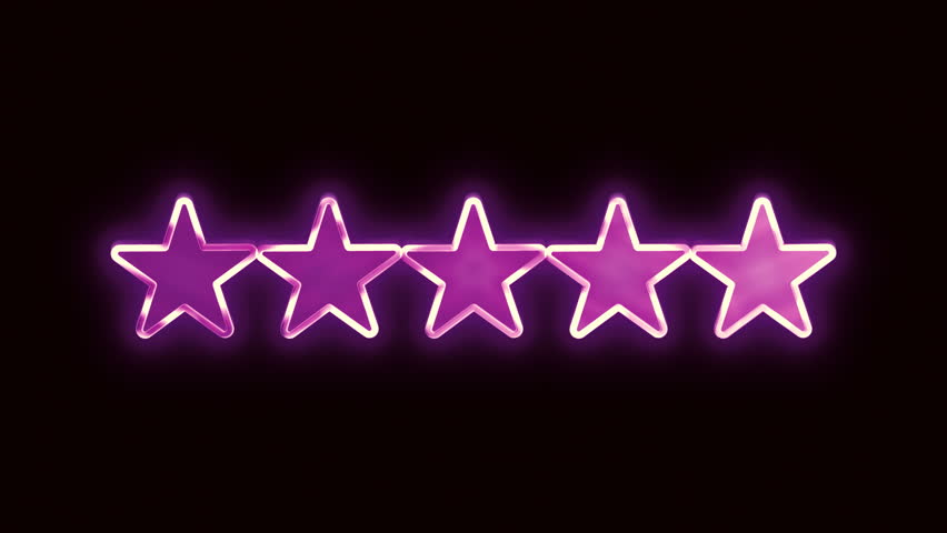 Five stars glide down in to the center of the screen in luxurious, old school motion graphics style.