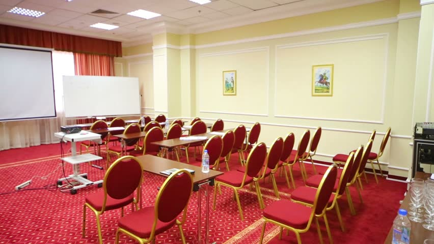 MOSCOW RUSSIA MAY 22 2013 Empty Meeting Hall With Red Chairs