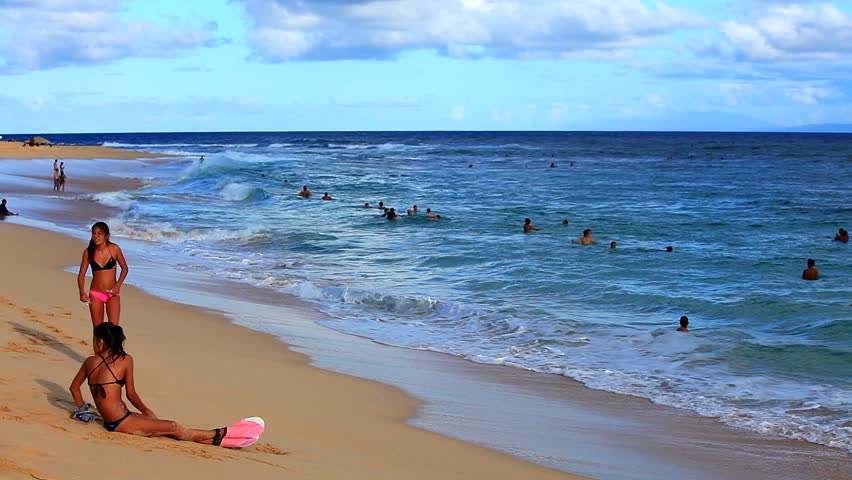 Sandy Beach Hawaii Usa Oct 24 Unidentified People At On October 2017 Oahu Is Known For Its Excellent
