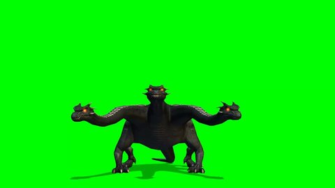 Hydra mystical water snake walks angry - green screen