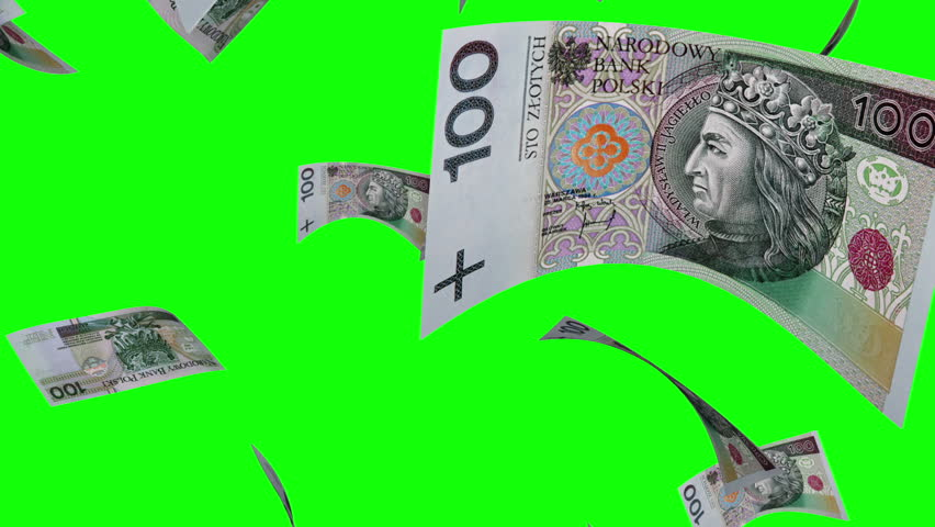 Falling Polish Zlotys (Loop on Greenscreen). Falling 100 PLN bills. Perfect for your own background. Seamless loop, no motion  blur, clean mask on green screen.