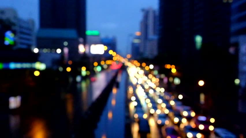 City At Night Background With Cars Out Of Focus