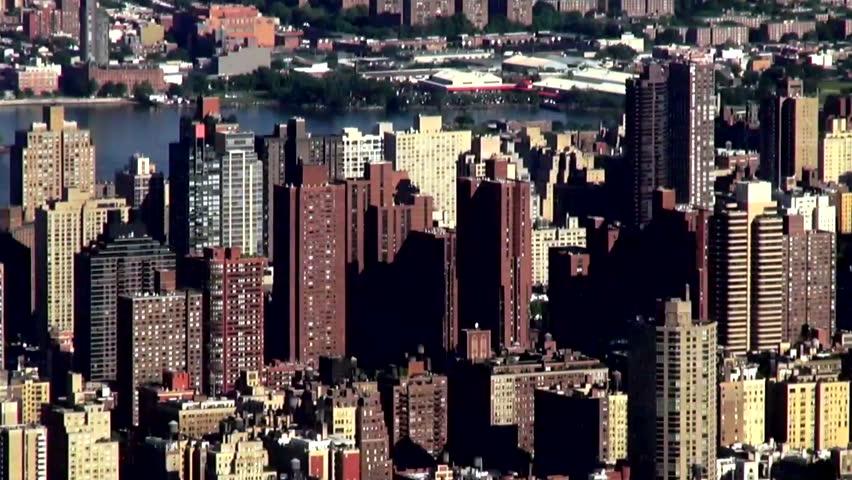 Buildings, Aerial, Urban, New York City, Manhattan, River | Shutterstock HD Video #6576830