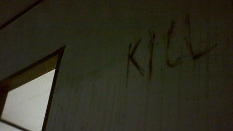 Moving Shot of 'Kill' Graffiti in Gonjiam, Abandoned Insane Asylum, South Korea