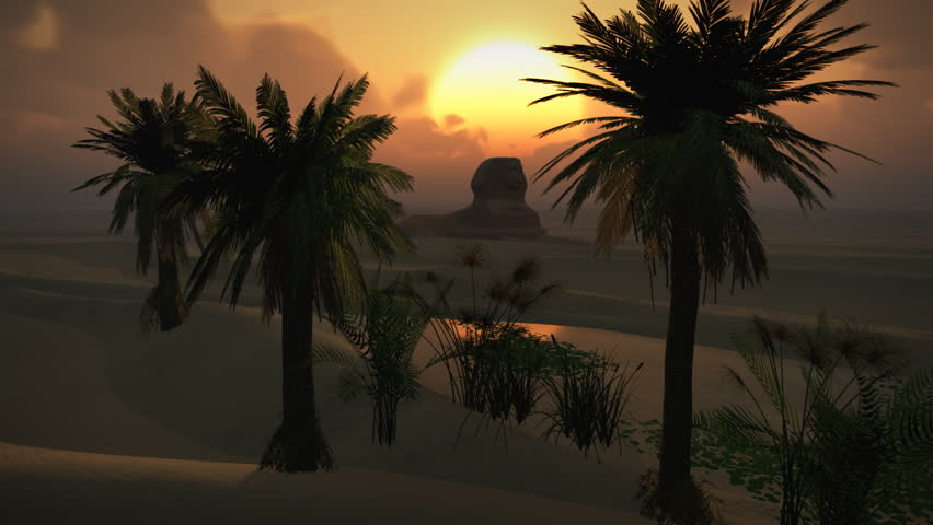 (1150) Egyptian Sphinx Desert Sand Palm Oasis Sunset Clouds LOOP Themes for Africa, Egypt, Travel, Destinations, Tourism, Desert, Extreme, Arabia, Nature, Environment, Oil, Antiquities