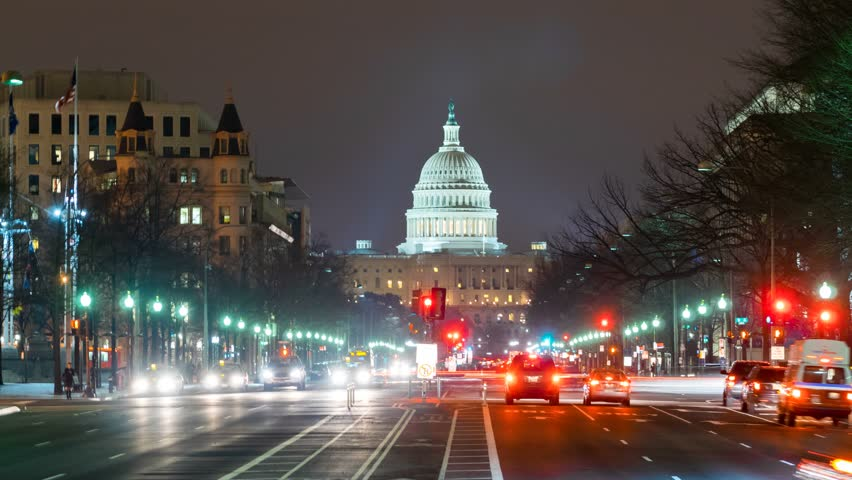 WASHINGTON DC - FEB 19: timelapse view over the Capitol Building by night which is the seat of the United States Congress on 19 February 2014 in WASHINGTON DC, USA | Shutterstock HD Video #6603824