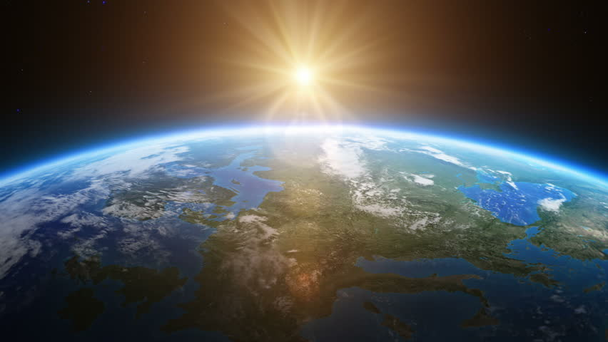 Beautiful view of sunrise over Europe from space . MORE OPTIONS IN MY PORTFOLIO