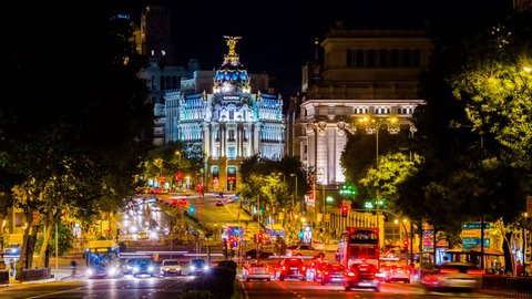 MADRID - 25 OCT: Timelapse view of Grand Via, a main street in central Madrid, the capital and largest city in Spain on 25 Ocotober 2013 in Madrid, Spain