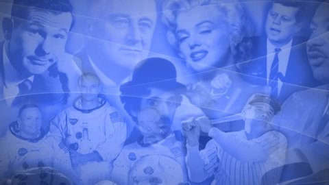 Los Angeles - June 19, 2014: Animated montage of famous people from the 20TH Century
