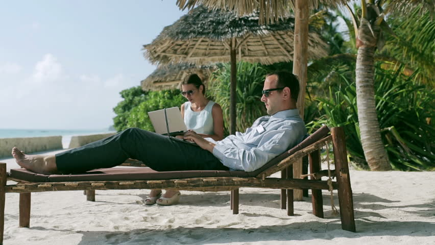 Businesspeople working in exotic place