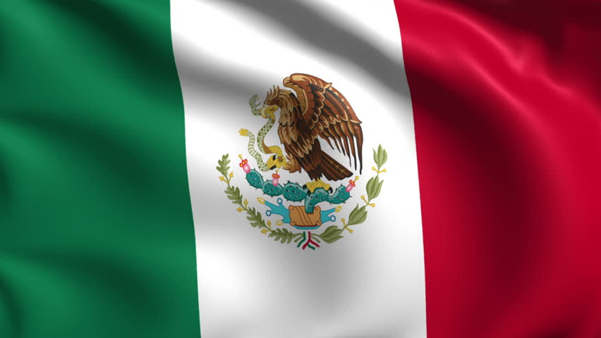 Mexican Flag HD. Looped. Stock Footage Video 1821584