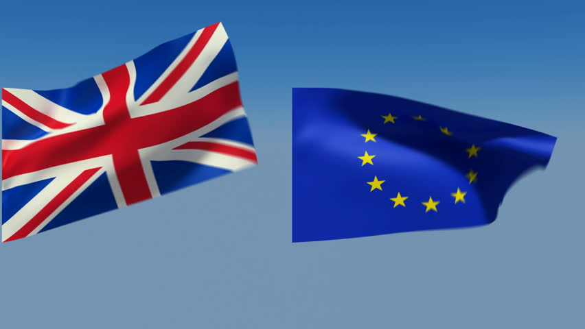 Loopable Great Britain and European Union Flags. Alpha channel is included
