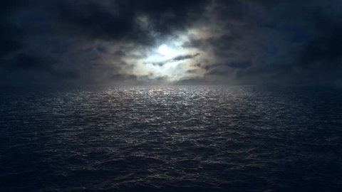 flying over moonlit ocean at night. Camera tracks slowly over dark ocean and clouds drift across the moon. Computer generated ocean composited together with timelapse night sky.