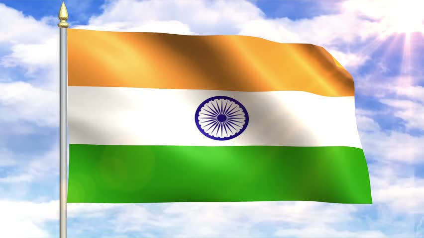 Indian Animated Flag Waving: Indian Flag Waving Over A Blue Cloudy Sky Stock Footage