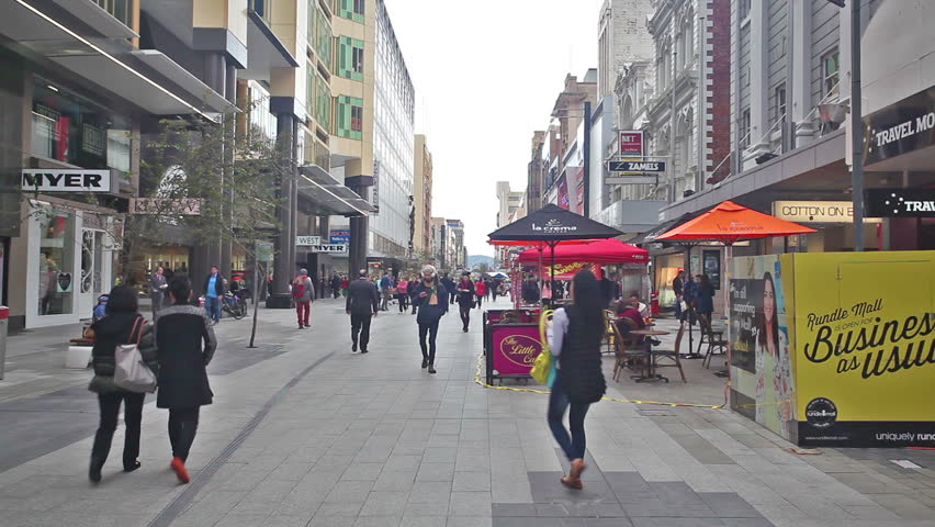 Adelaide, Australia - Jun 19: People in Rundle Mall in Adelaide, Australia on Jun 19, 2014. Rundle Mall is the premier retail area of Adelaide.