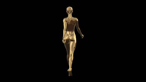 3D Concept Gold High Fashion Model High Heel Walk Back Full view in PNG + Alpha format