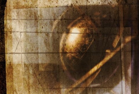 Textured image of rotating armillary sphere.