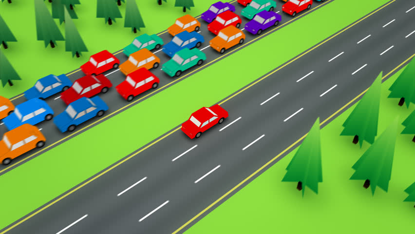 Loopable following shot of a red car travelling in the empty side of a divided highway while the other direction has bumper to bumper traffic. | Shutterstock HD Video #6731236