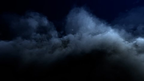 4k, impressive looped intro background, Night flight over high-detailed clouds (loop-able, seamless loop, hd, ultra high definition, 1920x1080, 4096x2304, 1080p)