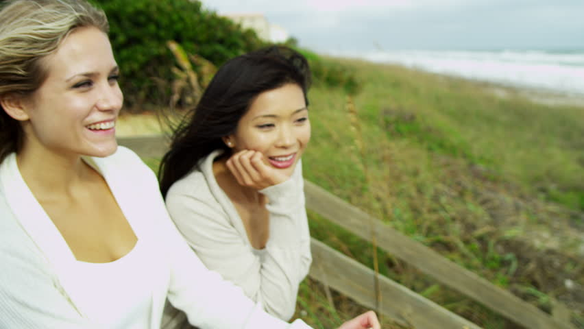 Asian Lesbian Couple Get A Key To Their New Home Shot On Red Epic Stock Footage -1644