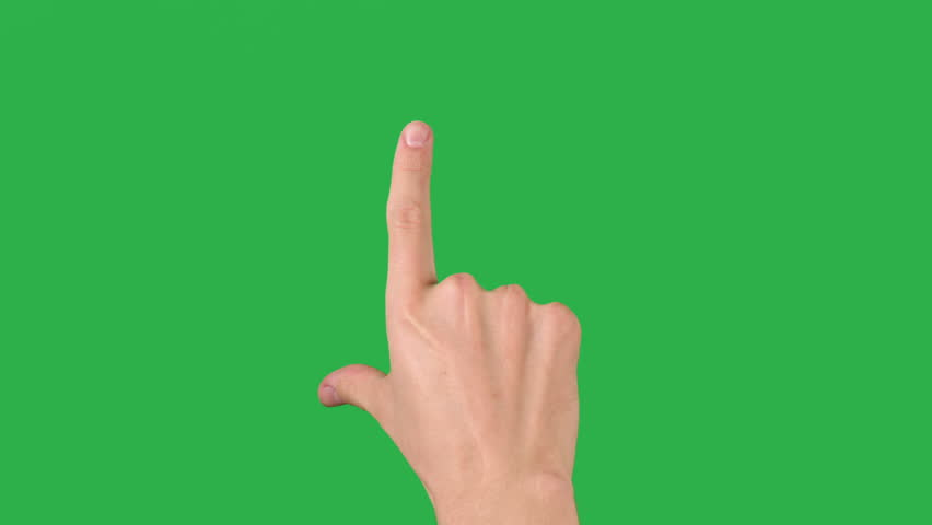 man hand eight gestures for tablet pc or smartphone, green screen