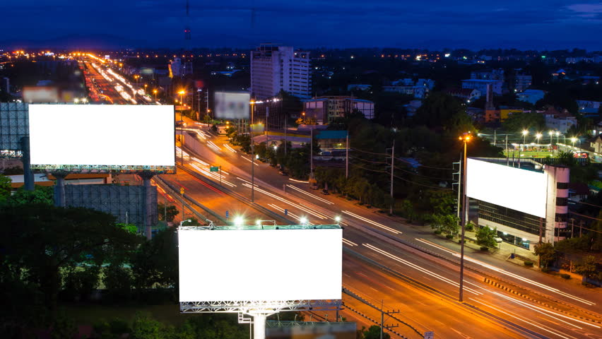 Time lapse long highway and three big billboard day to night  | Shutterstock HD Video #6814876