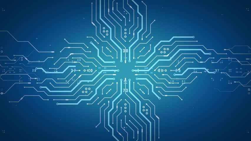 blue circuit board electronic hitech tree growing