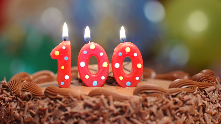 Candles On A Cake Are Blown Out For 100th Birthday